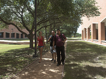 Students Walking near Health Sciences Buildings