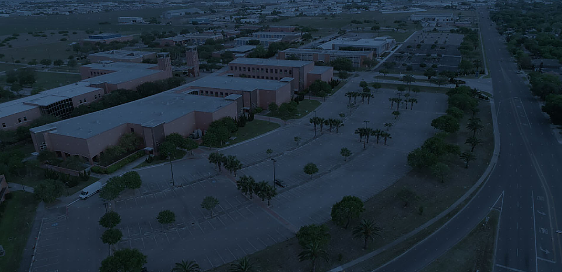 Aerial image of West Campus parking lot