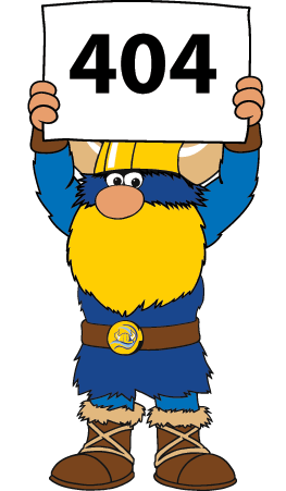 Valdar the Viking mascot holding a 404 sign